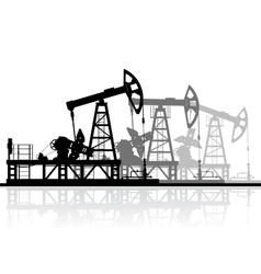 Oil pumps silhouette isolated on white background vector image