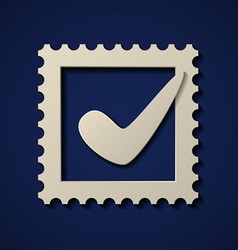 paper positive checkmark postage stamp vector image