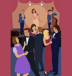 people dancing in a jazz night club vector image