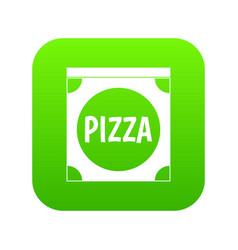pizza box cover icon digital green vector image