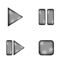 Play pause stop forward sign icon set vector