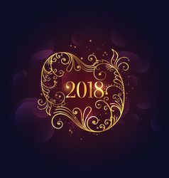 premium golden floral happy new year 2018 vector image