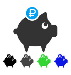 Rouble piggy bank flat icon vector