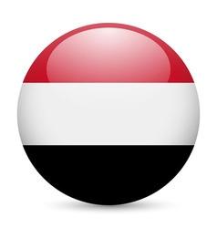 Round glossy icon of yemen vector image