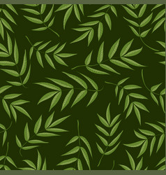 Seamless pattern from green leaves of mountain vector