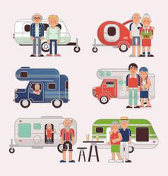Senior travel elderly family couple vector