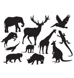 set animals silhouette vector image