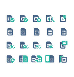 set sim card flat icons 3g 4g 5g - network vector image