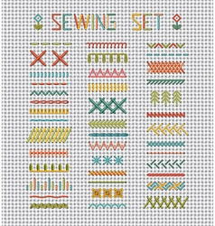 Sewing set on white evenweave textile vector image