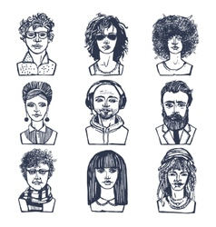 Sketch people portraits set vector