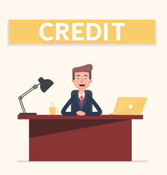 smiling banking clerk showing bank credit loan vector image