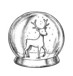 snow globe with deer souvenir hand drawn vector image