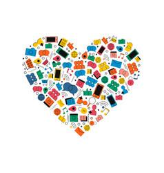 social media network love icon heart shape concept vector image