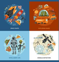 Space exploration 2x2 design concept vector