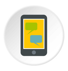 Speech bubble on phone icon circle vector