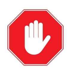 Stop hand sign on white background vector