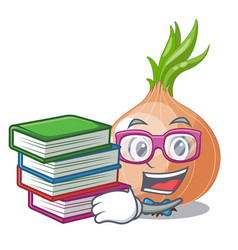 Student with book cartoon ripe onion in the vector