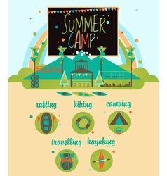 Summer Camp with Kids Landscape and Playground vector