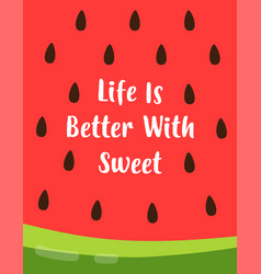 summer card with watermelon and lettering vector image