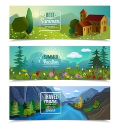 Summer landscape horizontal banners set vector