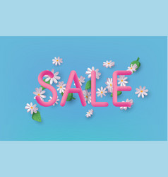 summer sale 3d text banner design with daisy vector image