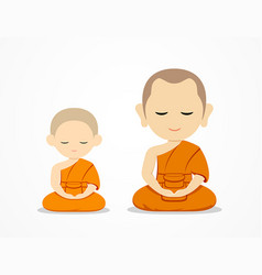 Thailand monks and novices meditate vector