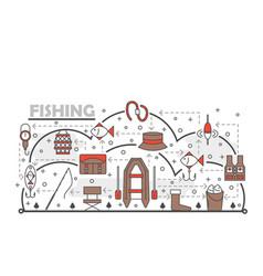 thin line art fishing poster banner vector image