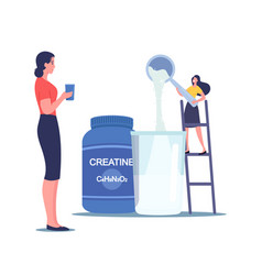 Tiny female character pour protein powder vector