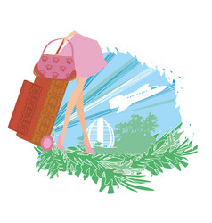 Travel girl with baggage vector