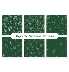 trendy seamless chalk silhouette vegetable pattern vector image