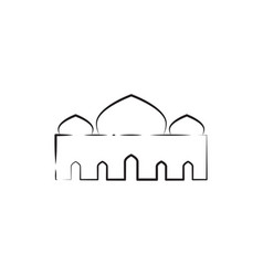Triple dome outline mosque graphic design vector