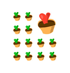 twelve green and one red potted cactus succulent vector image