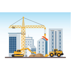 under construction building work process vector image