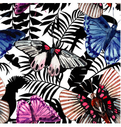 watercolor butterflies pattern parrots and vector image