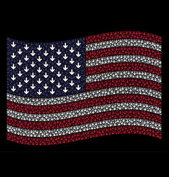 Waving united states flag stylization of arrow vector