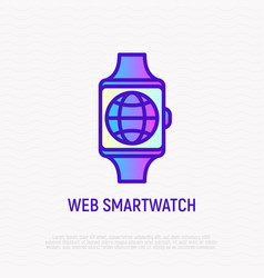 web smartwatch globe on device screen line icon vector image