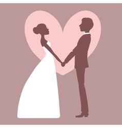 Wedding invitation silhouette bride and groom vector