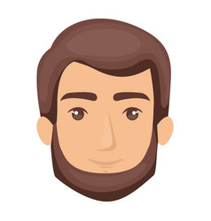 white background of man face with brown hair and vector image