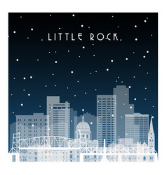 winter night in little rock night city vector image