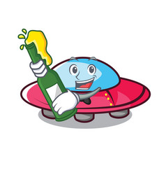 with beer ufo mascot cartoon style vector image