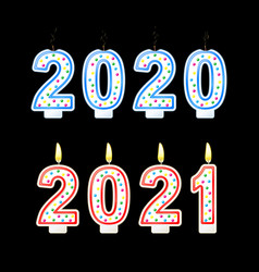 year change from 2020 to2021concept happy new year vector image