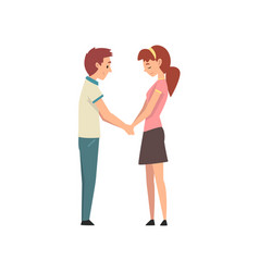 young man and beautiful woman holding hands and vector image