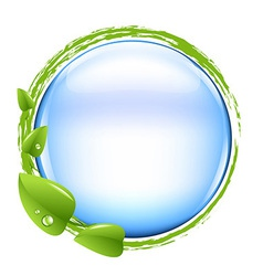 Blue Ball And Green Leafs vector image vector image