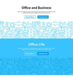 Business Office Life Line Art Web Banners Set vector image