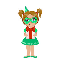 girl in green mask holding present part of kids vector image vector image