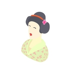 Japanese girl icon cartoon style vector