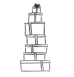 Stack of Christmas gifts vector image vector image