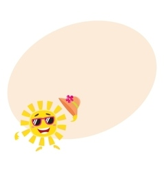 Summer sun character in sunglasses holding straw vector image