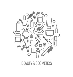 Beauty and cosmetics thin outline icons in vector image vector image