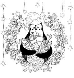 Christmas penguin with gift box zentangle doodle vector image
